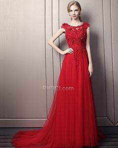 77eecfa1fbc711 Beautiful Red Prom Dresses A Line Spring Long Appliques Evening Dress 2018  Sleeveless Lace Bohemian