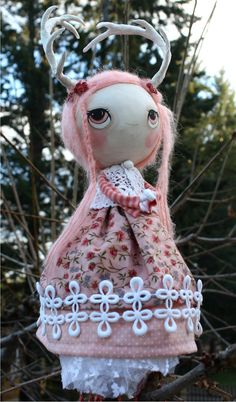 Albino Deer Paper Mache Art Doll Tree Topper by thepoppytree, $95.00