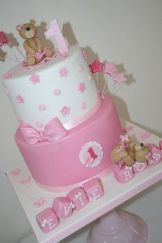 Cute ballerina teddy's 1st birthday - by thesweetlittlecakery @ CakesDecor.com - cake decorating website