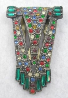 Retro, Vintage 1930s-1980s Temperate Vintage Art Deco Rhinestone Rows Brooch~ Hat Or Dress Pin! Pins, Brooches