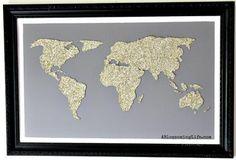 DIY World Map Glitter Art 8
