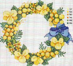 Schema punto croce Fiori Corona fiocco blu