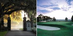 Yeamans Hall Golf Course in Charleston, South Carolina; the entrance and hole three