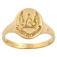 Antique Scottish Signet Ring of 18kt Gold, Clan Johnstone | From a unique collection of vintage signet rings at https://www.1stdibs.com/jewelry/rings/signet-rings/