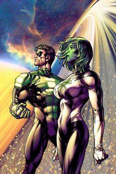 Green Lanterns - Kyle Rayner  and Jade