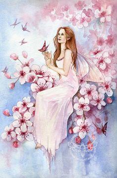 Fairy and Fantasy art by Janna Prosvirina - Cherry Blossom