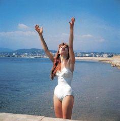 Three rare early photos of Brigitte Bardot. Brigitte Bardot Bikini, Brigitte Bardot Young, Bridget Bardot, Bikini Swimwear, Bikinis, Swimsuits, Star Actress, Bikini Photos, Cannes Film Festival