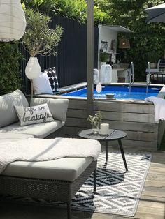 Backyard Pool Designs, Small Backyard Patio, Swimming Pools Backyard, Pool Landscaping, Above Ground Pool, In Ground Pools, Piscina Intex, Kleiner Pool Design, Bali