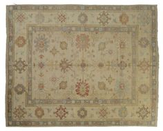 DERIN USHAK / TURKEY Item Number:24727 Width: 9 ft. 0 in. Length: 11 ft. 8 in. Field: ALL OVER PATTERN Field Color: BEIGE Border Color: GRA... (828)-687-1968 www.togarrugs.com