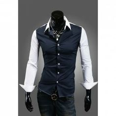 $10.65 Slimming Fashion Shirt Collar Color Block Splicing Long Sleeves Polyester Shirt For Men