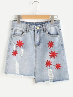 0325df5a11a Shop Embroidery Ripped Frayed Hem Asymmetric Denim Skirt online. SheIn  offers Embroidery Ripped Frayed Hem