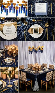 Yellow Roses In Blue Vases Vibrant Gold And Rich Blues Design By One Fine Day Events Bellissima Fl