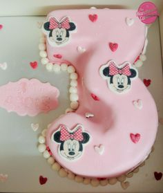 Pink Disney Princess lovehearts flowers birthday cake by The