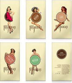 Excelentes envoltorios de Hot Chocolate estilo retro #packaging