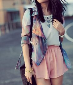 Outfit - Universe Jacket and pink skirt + Jewellry