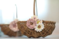 Rustic Flower Basket For Wedding Pale Pink And Ivory Flowers On Etsy 7 Ft