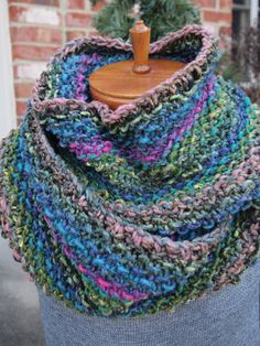Hand Knit Inifinity Scarf Cowl Noro Wool Silk by IndigoKittyKnits, $40.00