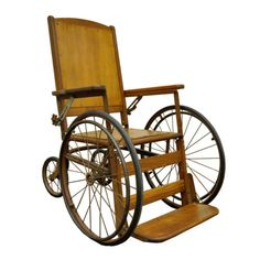 Circa 1900 Antique Industrial Reclining Oak Wheel Chair Wheelchair Vintage in Antiques, Furniture, Chairs, 1900-1950 | eBay