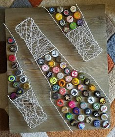 Bottle cap string art (Christmas Bottle Art)
