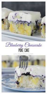 Sink your teeth into this Blueberry Cheesecake Poke Cake. This vanilla cake is soaked with cheesecake pudding, fresh blueberry sauce and a cream cheese whipped cream topping.: