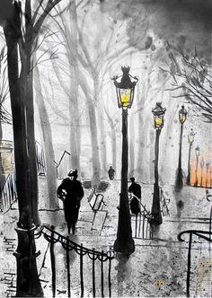 "Saatchi Online Artist: Loui Jover; Pen and   Ink, Drawing ""montmartre stairs"""