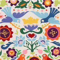 Tela blanca con palomas y flores d Alexander Henry La Paloma