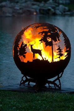 Up North Custom Steel Outdoor Fire Pit - Minnesota Themed Sphere Artistic Fire Ball - The Fire Pit Gallery Fire Pit Sphere, Fire Pit Ball, Steel Fire Pit, Fire Pits, Fire Pit Gallery, Custom Fire Pit, Custom Metal, Fire Bowls, Fire Pit Backyard
