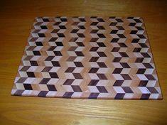 beautiful 3D cutting board wood species chevron pattern
