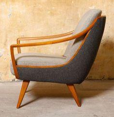 Chair Teak Wood Elegant Sitting Tweed Upholstery Fabric MCM Mid Century Modern Home Decor Retro Furniture, Cool Furniture, Furniture Design, Automotive Furniture, Automotive Decor, Handmade Furniture, Furniture Stores, Cool Chairs, Easy Chairs
