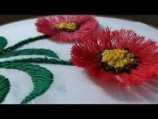 Hand embroidery designs. Hand embroidery stitches tutorial. pom pom flower stitch. - YouTube