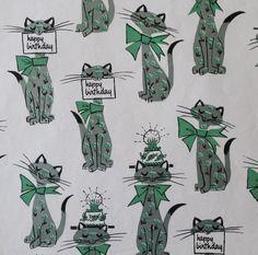 Vintage Gift Wrap  Hallmark MOD Birthday CATS Kitties 1960s