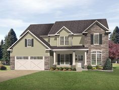front porch columns | Porch columns, stone accents and front facing gables ... | For the Ho ...