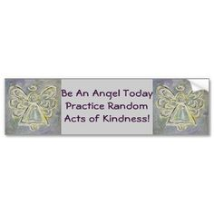 Random Acts of Kindness White Angel Bumper Sticker bumpersticker