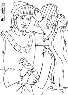Barbie Princess Coloring Books Digital Stamps Free Printable Fairytale Medieval Filing Pdf