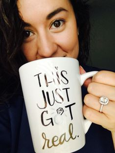 DIY Engagement mug. #thisjustgotreal #announcement #diy