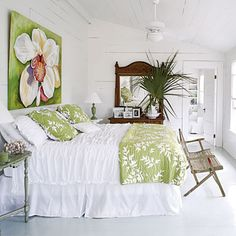 The green and white is pretty but I gotta have that bench at the end of my bed