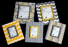 Set of 5 matching frames in grey and yellow by BranchBirds on Etsy, $200.00