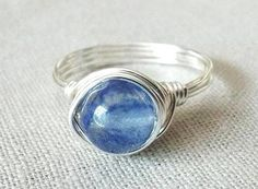 Blueberry Quartz Ring Blue Stone Ring Jewelry by PepperandPomme