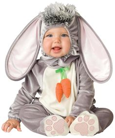 Bunny Costume Wee Wabbit InfantCostumeLovablebunny rabbit Costume includes: Hood with plush tuft and bodysuit with attached carrot tie and snaps Baby Costumes For Boys, Toddler Costumes, Boy Costumes, Rabbit Fancy Dress, Baby Fancy Dress, Baby Bunny Costume, Rabbit Costume, Easter Dresses For Toddlers, Animal Halloween Costumes