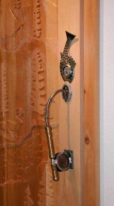 Door Pull, Fishing Rod, Fly Fishing, Wrought Iron Door Pull, Door Handle