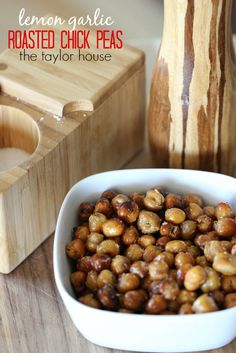 Delicious and easy to make Lemon Garlic Roasted Chickpeas!