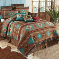 Canyon Springs Tapestry Coverlet - Queen - A Lone Star Western Decor Exclusive - This cotton-poly tapestry coverlet softens your southwest room with warm brown and hints of turquoise in a sawtooth diamond design. Western Bedroom Decor, Western Bedding Sets, Western Bedrooms, Cowgirl Bedroom, Bohemian Bedrooms, Rustic Bedrooms, Southwestern Bedroom, Southwest Quilts, Southwest Style