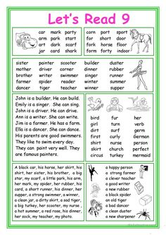 This worksheet is for Elementary school students at Beginner level who learn reading and their vocabulary is not too big. The worksheet is good for developing. Phonics Reading, Reading Comprehension Worksheets, Kindergarten Reading, Teaching Reading, Learning English For Kids, English Lessons For Kids, Teaching English, Learn English, English Phonics