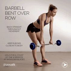 zovafit: Looking to strengthen and tone your back? say hello to the barbell bent over row. Added bonus: This exercise challenges your core and legs to hold yourself in the correct position rep after rep.