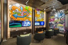 10 Game Rooms That Play Nice — Apartment Therapy Game Room Home Design, Design Ideas, Interior Design, Design Inspiration, Room Interior, Arcade, Geek House, Gaming Lounge, Gaming Setup