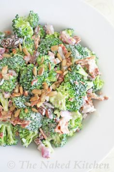 Broccoli Salad In a small bowl combine mayo, vinegar, honey, salt and pepper.  Mix well and set aside. In a large bowl combine broccoli, bacon, onion and raisins.  Gently stir in the mayo dressing. Sprinkle with sunflower seeds and serve immediately…
