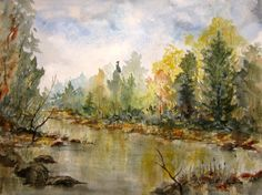 Watercolor Autumn Painting Print, archival print, watercolor art, landscape painting, fall landscape, autumn trees, scenic autumn painting. by RPeppers on Etsy https://www.etsy.com/listing/483937937/watercolor-autumn-painting-print