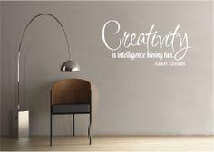Vinyl Wall Decal Art Quote Saying Decor Creativity is Intelligence Einstein
