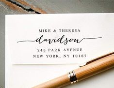 Self-Inking Hand Calligraphy Font Return Address Stamp, Pre-Inked Custom Rubber Stamp, Wedding Invitation Stamp, Save the Date Stamp, Housewarming Gift Custom Address Stamp, Return Address Labels, Save The Date Stamp, Custom Rubber Stamps, Self Inking Stamps, House Warming, Cool Things To Buy, Wedding Invitations, Gifts