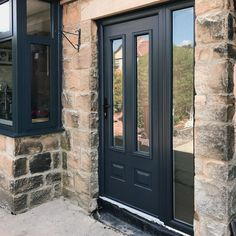 Grey Edinburgh solidor composite front door with shot blasted glass and full height side panel Grey Composite Front Door, Grey Front Doors, Front Door Porch, House Front Door, Front Porches, Door Entryway, Entrance Doors, Front Door Glass Panel, Doors With Glass Panels